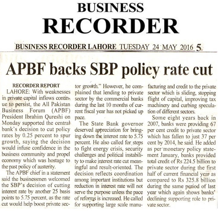 Business Recorder 24-05-2016