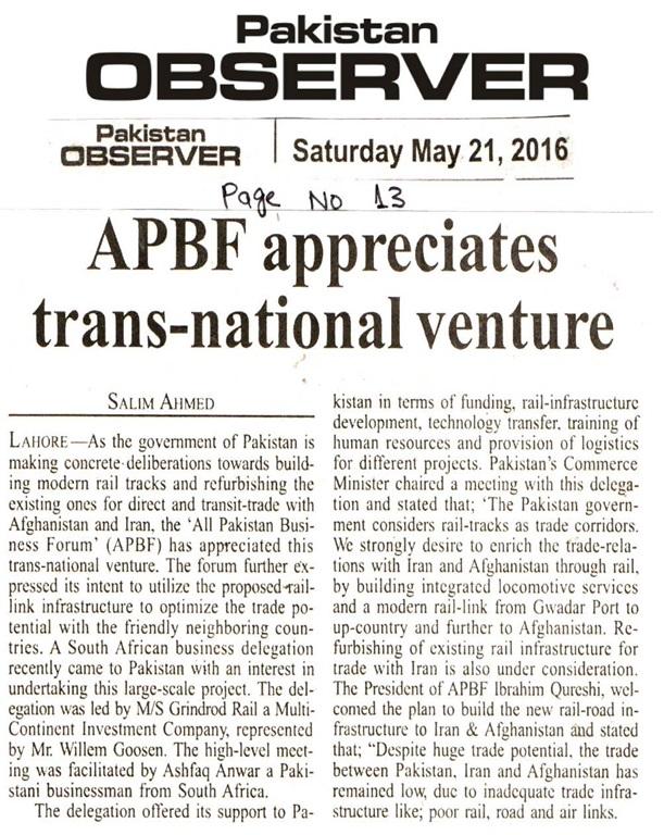 Pakistan Observer 21-05-2016